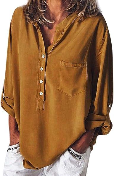 RISTHY Blusa de Cuello Solapa Camisa Botones Color Sólido Camiseta de Oficina Camisa Mujer Casual Camiseta de Mangas Largas Blusa con Bolsillo T-Shirt Tops Verano Otoño para Mujeres: Amazon.es: Ropa y accesorios