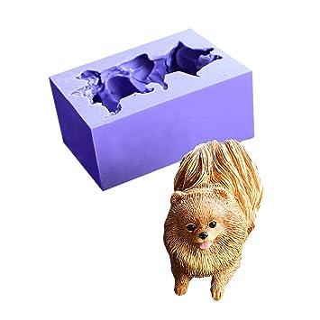 Moldes de silicona, runloo 3d cachorro de perro Pomerania Chocolate jabón de silicona moldes fondant moldes para tarta Herramientas moldes: Amazon.es: Hogar