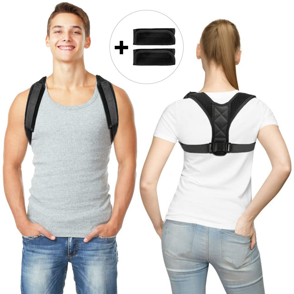 Posture Corrector for Men Women Flat Back Brace Adjustable Support Brace with 2 Pads for Upper Back Shoulder