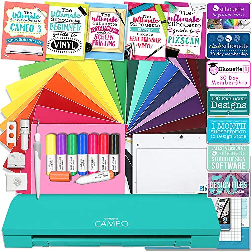 Silhouette Teal Cameo 3 Edition Bluetooth Educational Bundle Oracal Vinyl, Guides, Class, Membership