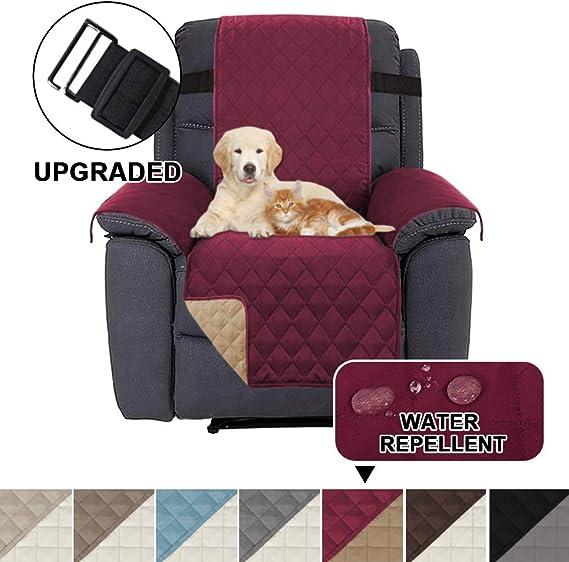 Image ofFundas Impermeables para sillas reclinables para sillones Fundas reclinables para sillas de Cuero Fundas reclinables para sillas Protect (Sillón reclinable, Burdeos/Tostado)