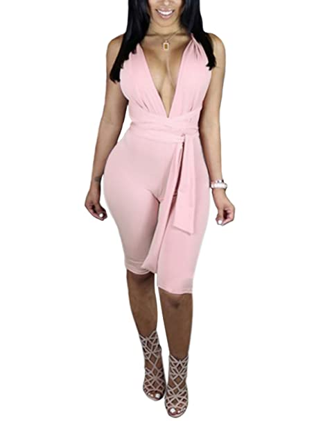 096bc915a2b M Womens Sexy Deep V Neck Sleeveless Strappy Halter Backless Bodycon  Clubwear Jumpsuit Rompers Outfit  Clothing