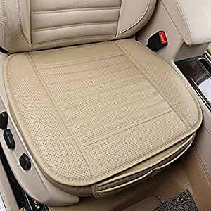 pu leather car seats protect mat cover car seat cover pad breathable cushion beige. Black Bedroom Furniture Sets. Home Design Ideas