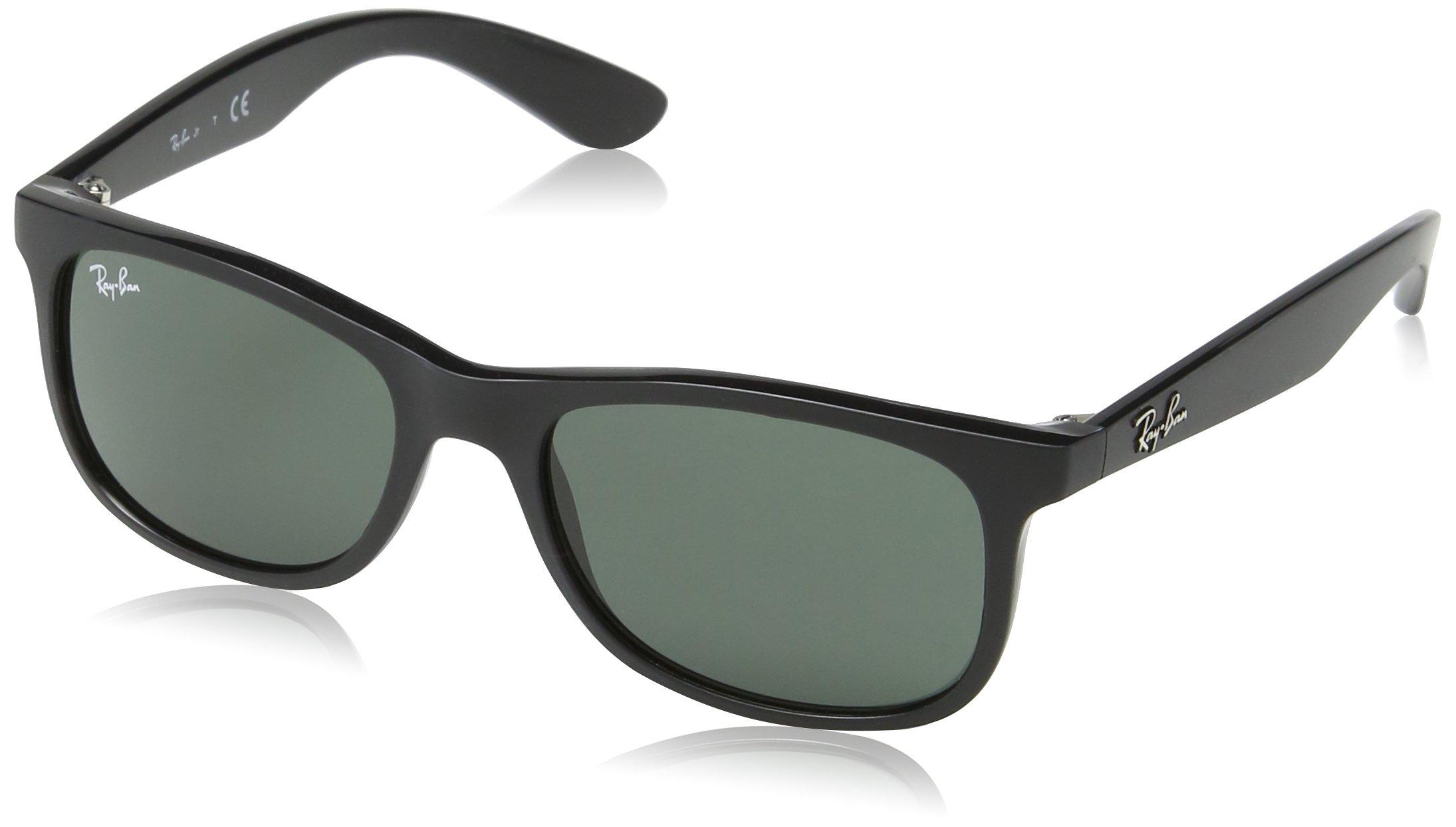 Ray-Ban Junior RJ9062S Rectangular Kids Sunglasses, Matte Black/Green, 48 mm