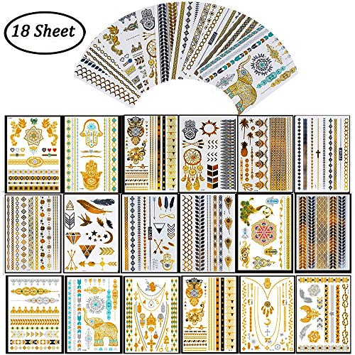 Simuer Metallic Tattoo,18 Sheets Gold Temporary Tattoos Shimmer Designs Jewelry Tattoos Fashion Body Art Waterproof Tattoos Stickers For Adults Kids ()