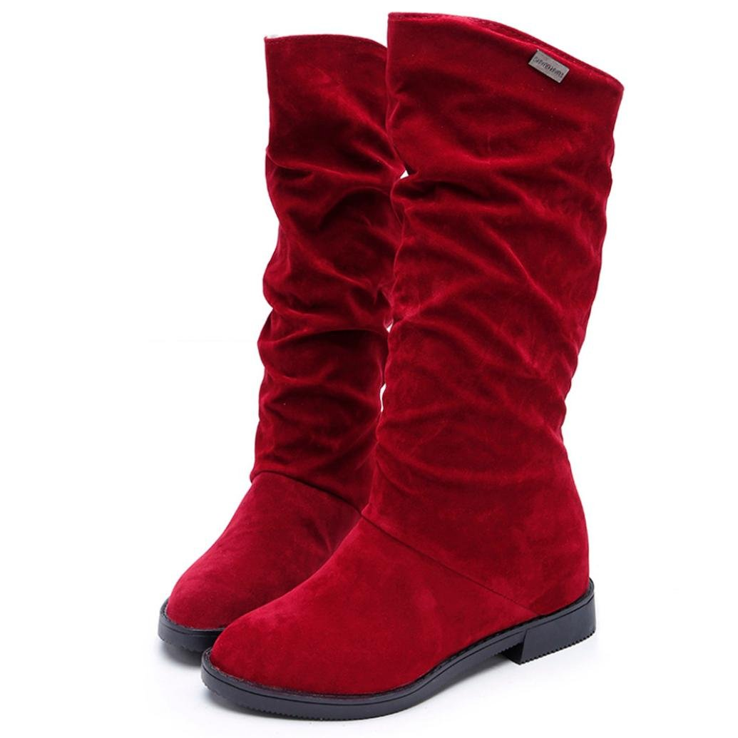 AIMTOPPY HOT Sale, Autumn Winter Boots Women Sweet Boot Stylish Flat Flock Shoes Snow Boots (5.5, Red)