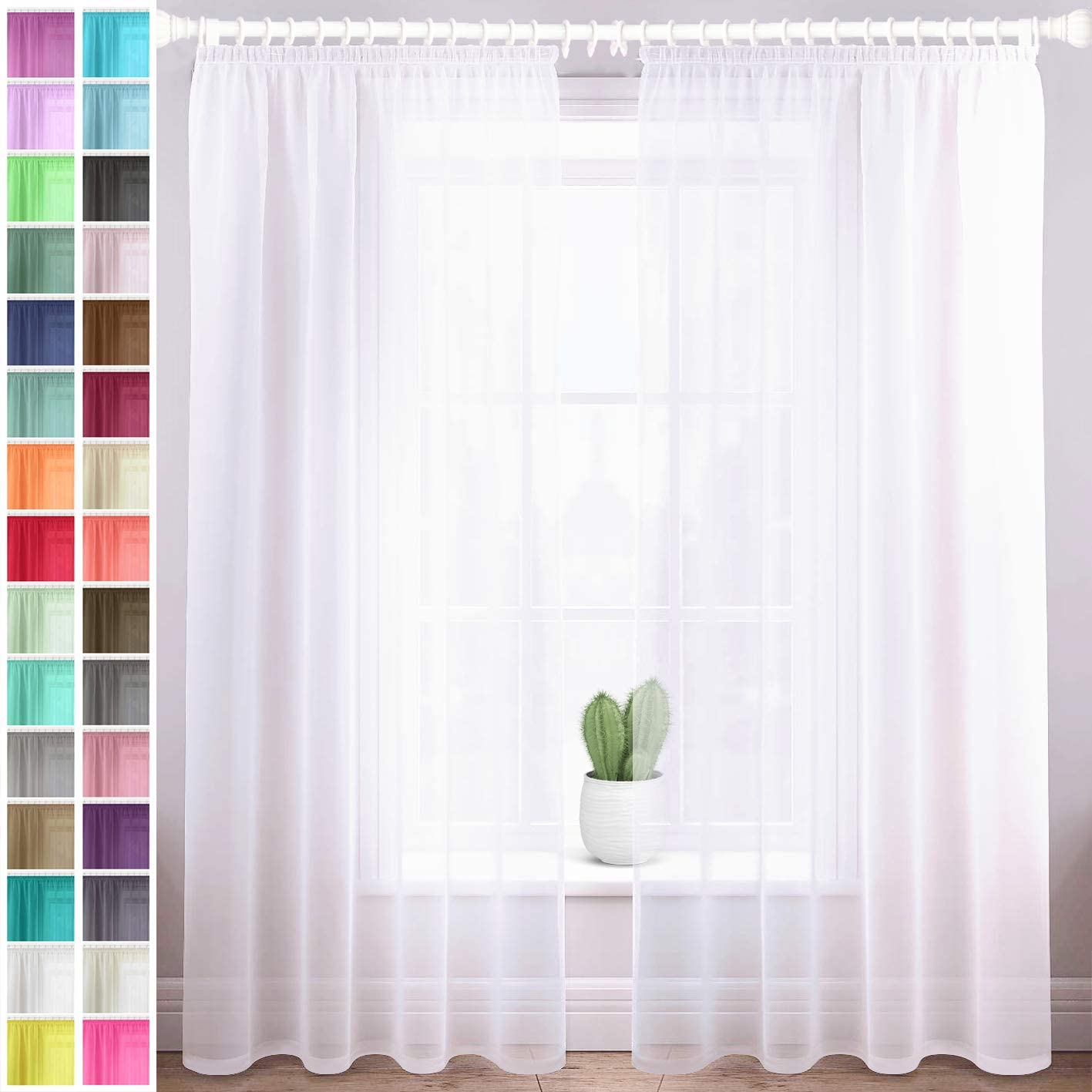 """Megachest lucy Woven Voile gathering tape Curtain 2 Panels with ties (28 colors) (pure white, 56"""" wideX90 drop(W142cmXH228.5cm)) Pure White 56""""wideX90""""drop(W142cmXH228.5cm)"""