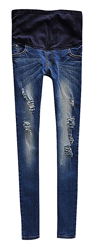 US&R, Women's Bright Blue Washed Ripped Secret Fit Belly Maternity Skinny Jeans, Blue 10 ,Manufacturer(XXL)