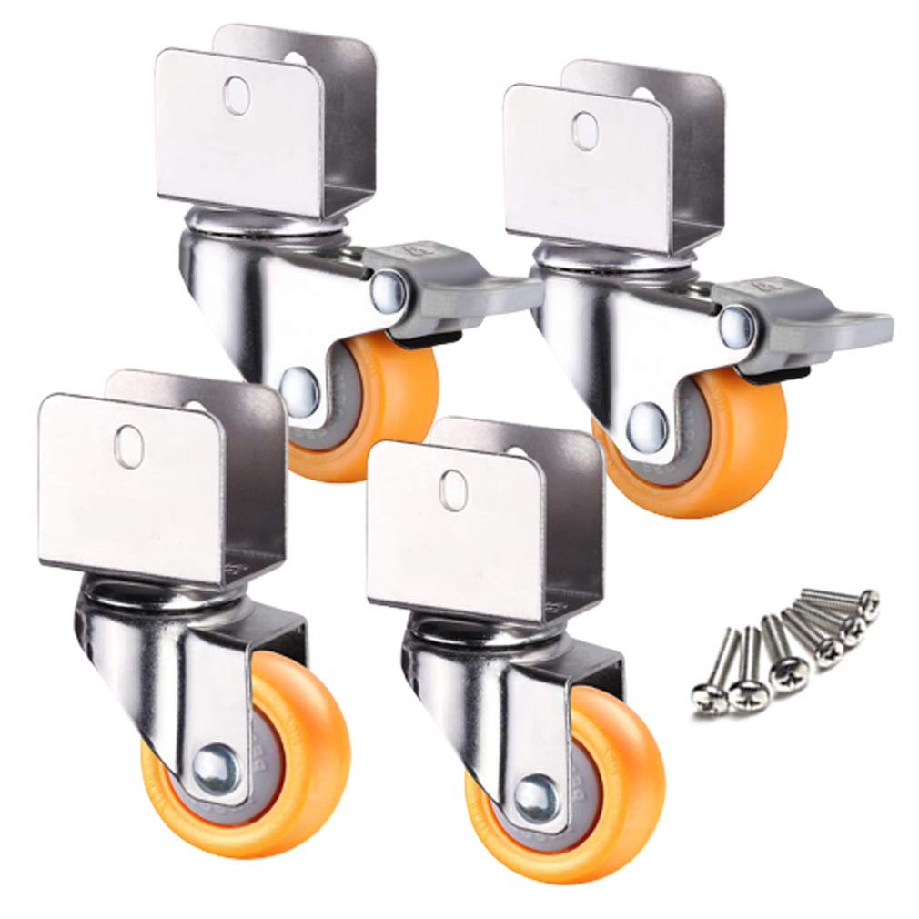 Casters 1inch Wheels with Safety Dual Locking,25mm Small Castor Wheels,Furniture Swivel Castors for Baby Bed,with U-Shaped Bracket,Load Bearing 50Kg,4Pcs,Yellow