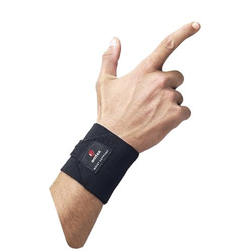 Omtex Adjustable Elasticized-Fabric Wrist Support, Men's Free Size (Black)