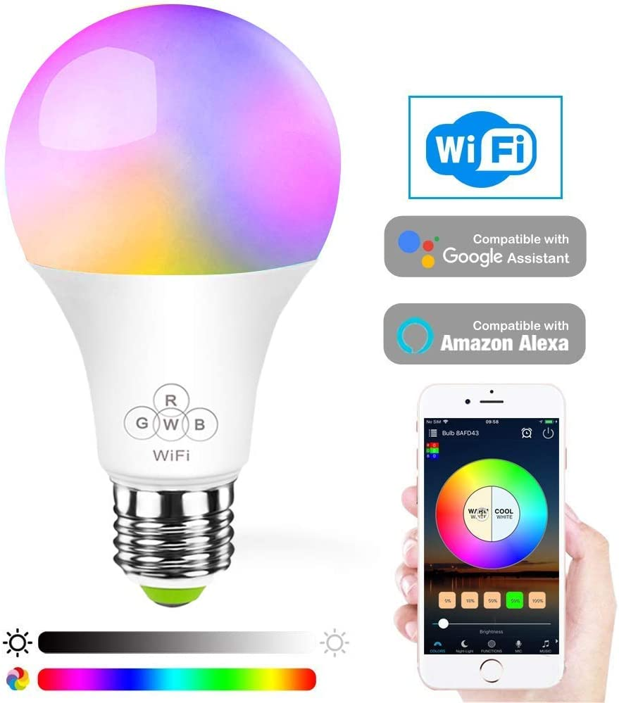 2 Packs AED LED Smart Wifi Light Bulb Tunable White Dimmable Goolge Home Compatible with Alexa Echo A19 No Hub Required 2700 to 6500K Multi-color