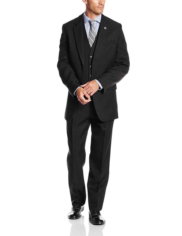 Stacy Adams Men's Big-Tall Suny Vested 3 Piece Suit, Black, 50 Long