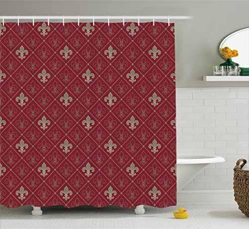Ambesonne Fleur De Lis Decor Collection, Fleur De Lis Pattern in Diamond Shape Lines Classical Cultural Victorian Style, Polyester Fabric Bathroom Shower Curtain Set with Hooks, Maroon Grey (Fleur Curtains Shower De Lis)