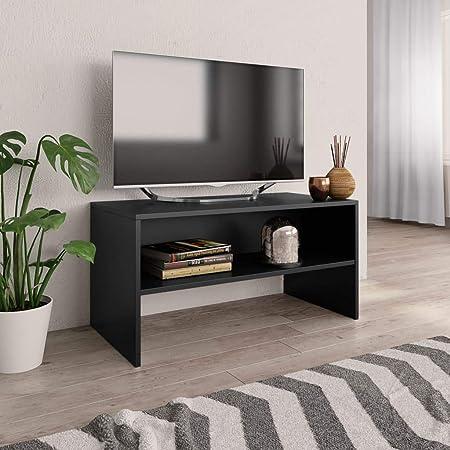 UnfadeMemory Mueble para TV,Mesa para TV,Estante de TV para Salón Dormitorio,Estilo Clásico,con Compartimento Abierto,Madera Aglomerada (Negro, 80x40x40cm): Amazon.es: Hogar