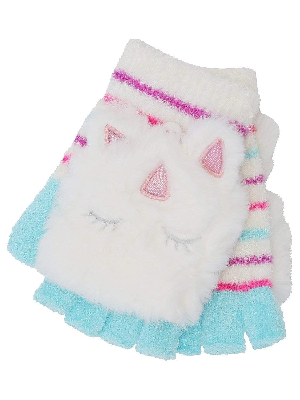 M& Co Girls Fluffy Fleece Flip Over Unicorn Glitter Button Fastening Stripe Mittens