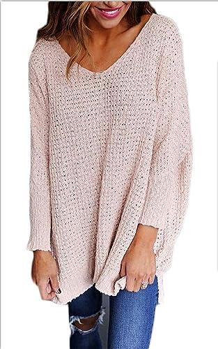 GTKC de las Señoras de las Mujeres del Suéter de Punto Jersey de gran tamaño Cuello V Manga Larga Su...