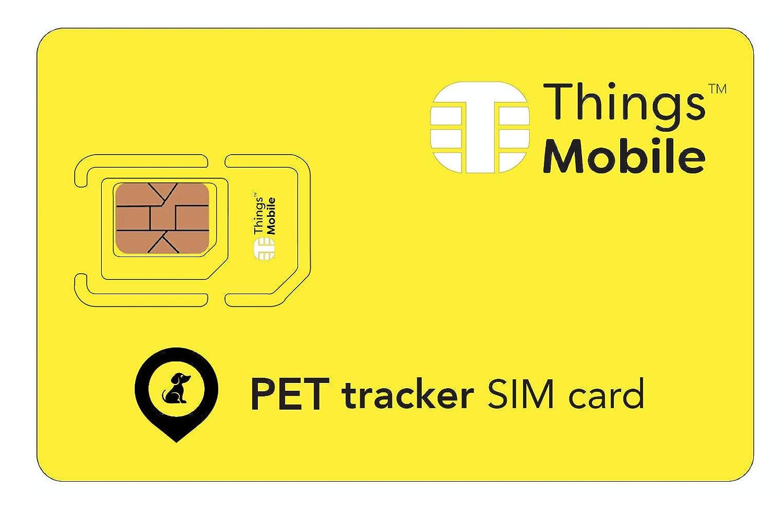 Carte SIM pour PET GPS TRACKER / TRACEUR pour ANIMAL DOMESTIQUE - Things Mobile - couverture mondiale, réseau multi-opérateur GSM/2G/3G/4G LTE, sans coûts fixes, sans échéance. 10 € de crédit inclus