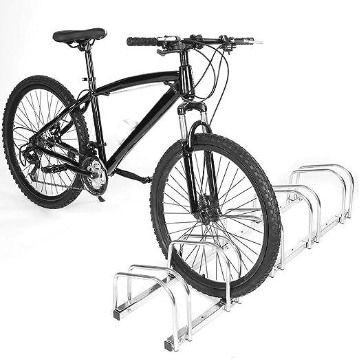 SOULONG Soporte para Aparcamiento de Bicicletas en el Suelo o Pared Aparcamiento para 5 bicis Ajustable Soporte para Ruedas en Interior o Exterior: Amazon.es: Hogar