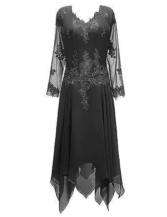 1d3aeaf325 Mother of The Bride Dress V Neck Mother Dress Ruffles Evening Gown Black 2