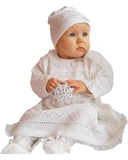 245355ac1780e5 Six for Kids Taufkleid Strickkleid Strick Set 3 TLG Weiß sehr edel ...