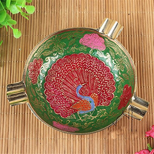 Price comparison product image Personality round engraved smoke cylinder Indian lacquer peacock round ashtray home furnishings,  D