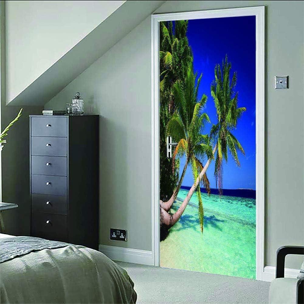 Pegatinas de puerta 3D Papel tapiz de puerta Coconut Tree Beach Art para puertas interiores Dormitorio Oficina Etiqueta de la pared Decoración del hogar 77X200Cm