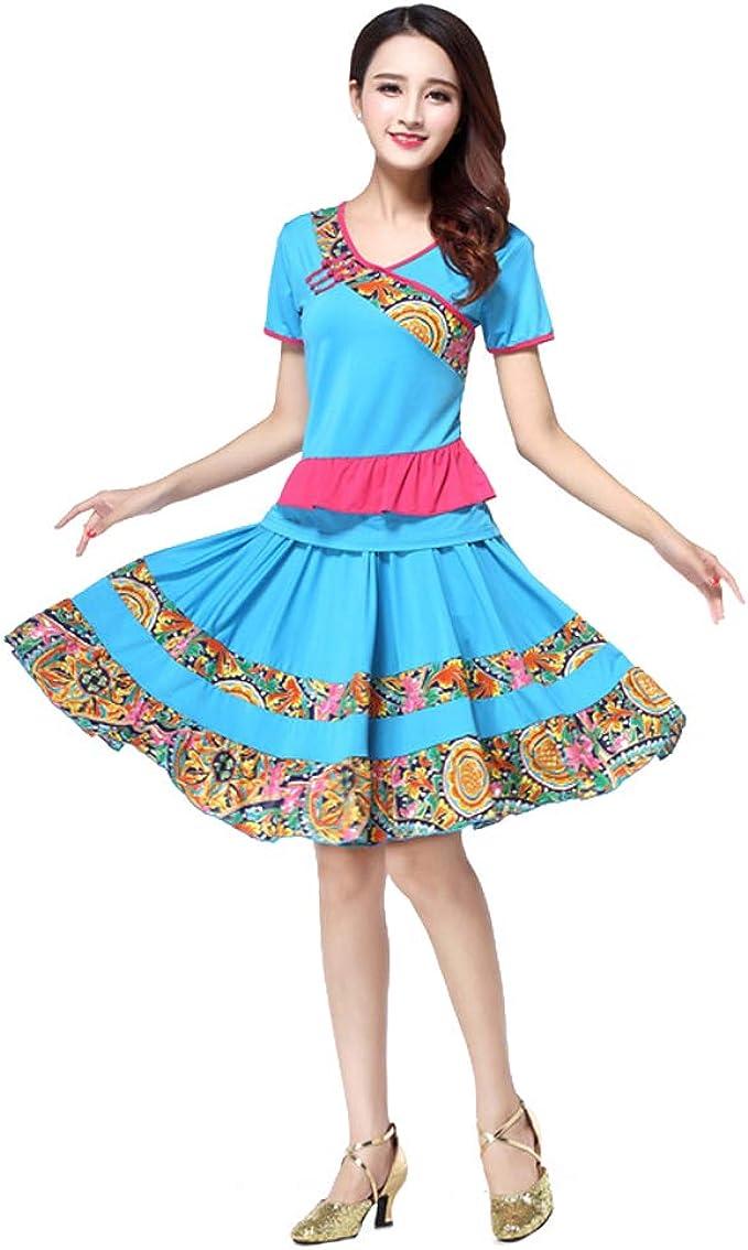 DAIYO Mujeres Manga Corta Estilo Chino Deportes Baile Top + Falda ...