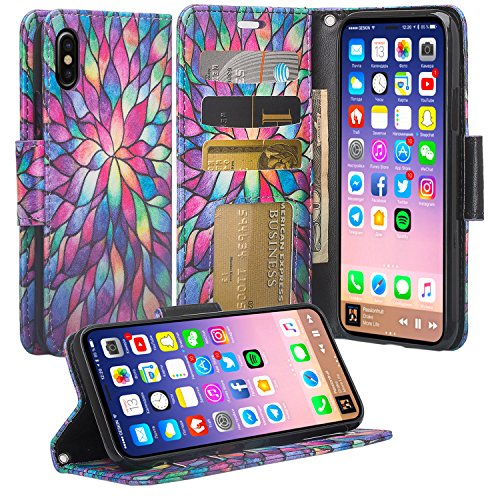 [Galaxy Wireless]Compatible for iPhone X Case, Apple iPhone X Wallet Case, Wrist Strap Flip Folio [Kickstand]Pu Leather Wallet Case for Women Girls with ID Slot For Phone Cases iPhone X,Rainbow Flower