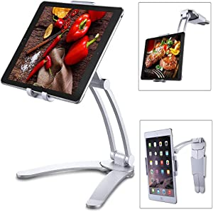 "2 in 1 Wall Hanging Tablet Stand Kitchen Desktop Pull-Up Lazy Bracket Adjustable Wall Mount Holder Fit for 5-13"" Width Bracket iPad Phone (Silver)"