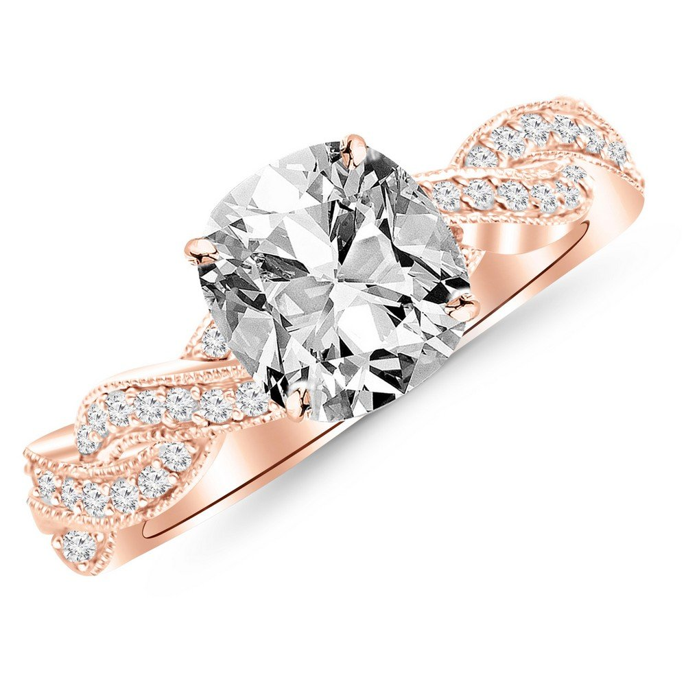 1.03 Ctw 14K Rose Gold GIA Certified Cushion Cut Vintage Eternity Love Twisting Split Shank Diamond Engagement Ring With Milgrain, 0.75 Ct I-J VS1-VS2 Center