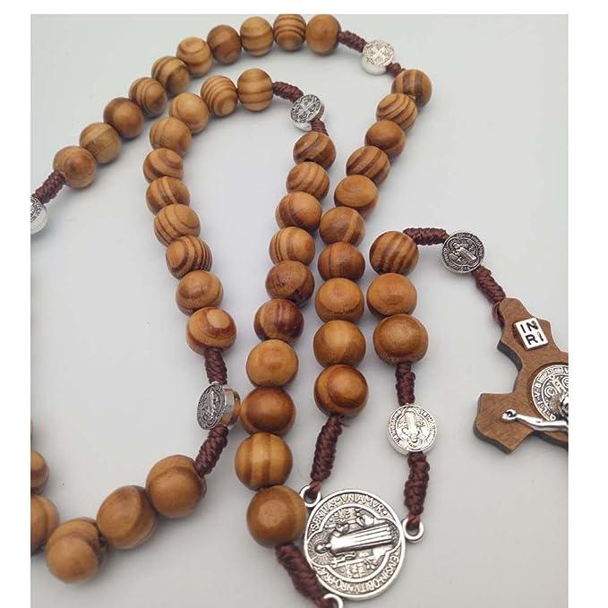 df8b36e1d47a Rosario Católica rosario collar hecho a mano de madera
