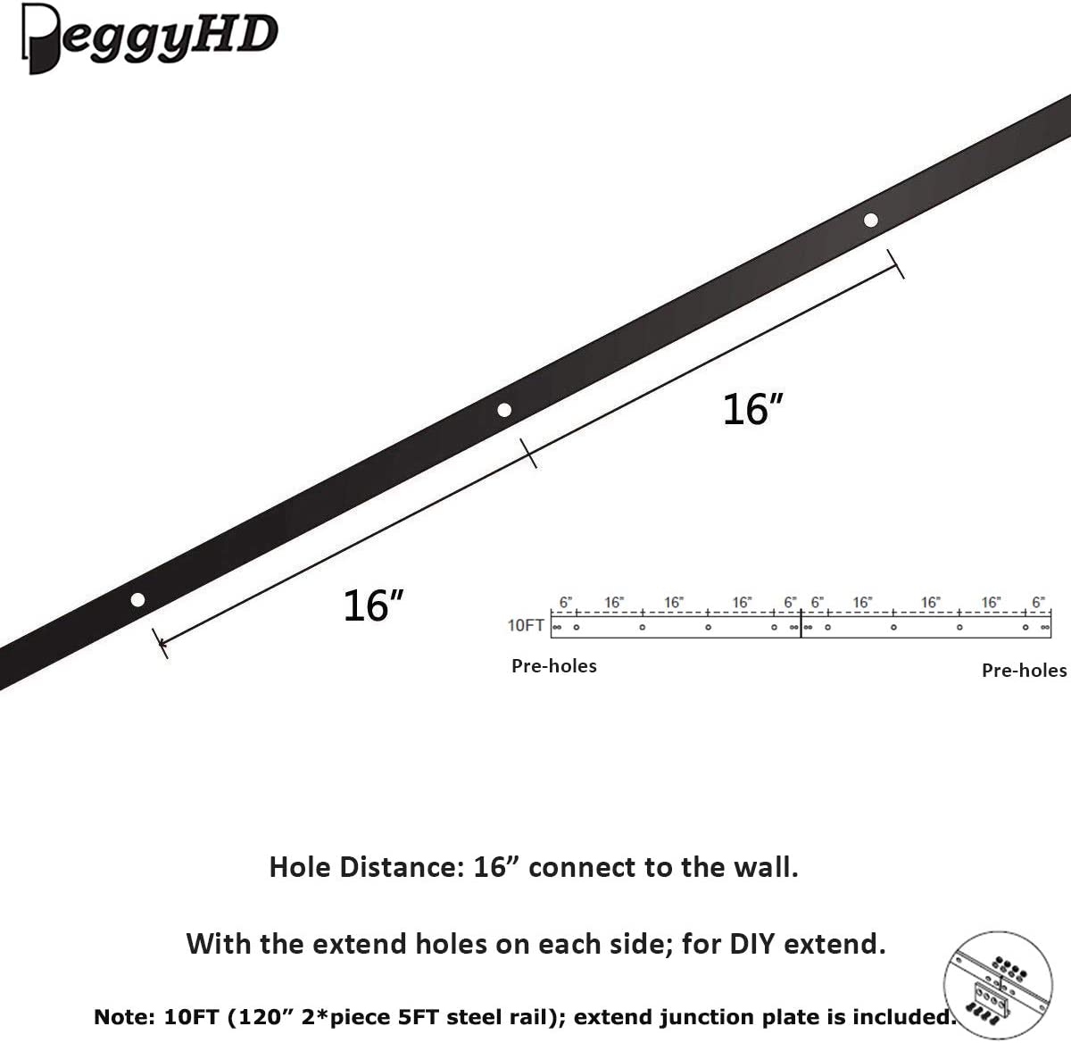 PeggyHD 8FT Sliding Barn Door Hardware Track Kit Double Wood Door One-Piece Rail Straight I Shape Roller Set