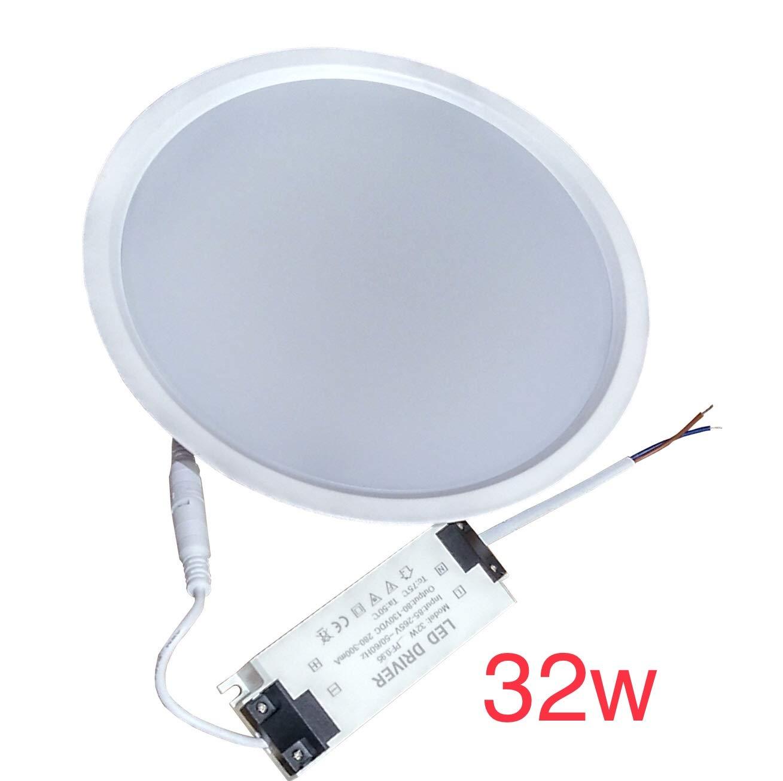 (LA) 2x Panel LED redondo 32w, blanco neutro (4500k) corte 205mm (standard), 2800 lumenes reales), marco blanco. [Clase de eficiencia energética A+] Led Atomant
