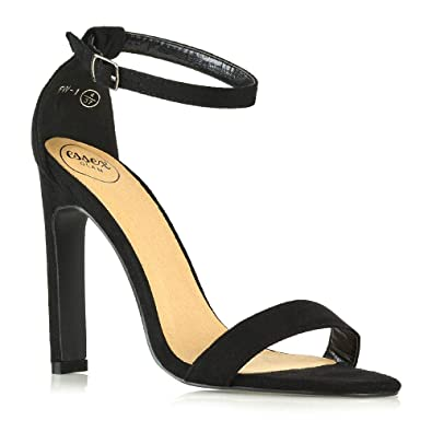 c924f11921c ESSEX GLAM Womens High Heel Barely There Ankle Strap Sandals Ladies Open  Toe Strappy Evening Party Shoes Size 3-8