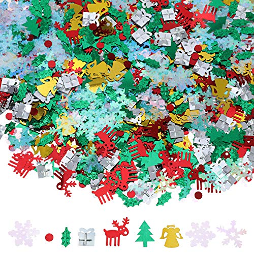 Gejoy 150g 7500 Pieces Christmas Table Confetti Christmas Confetti Elk Tree Angel Gift Snowflake Holly Sequin Christmas Wedding Birthday Holiday Party Decorations Supplies