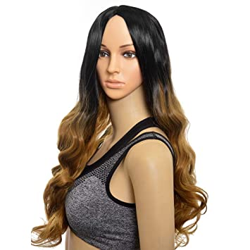 Siyi Rihanna Style 24inch Long Curly Black Ombre Blonde Wig For Black Women Hair Replacement Wigs
