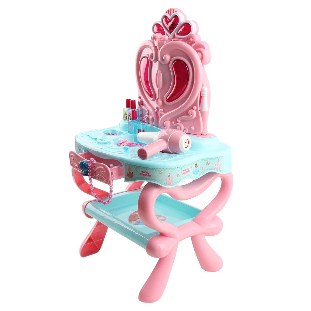 Super Cute Princess Dressing Table Storage Rack, Fantasy Vanity Beauty Dressing Table with Sensor Function and Makeup Accessories Suitable for Sound and Light Little Girl Toys, Fun Pretend Children's by TKI-S