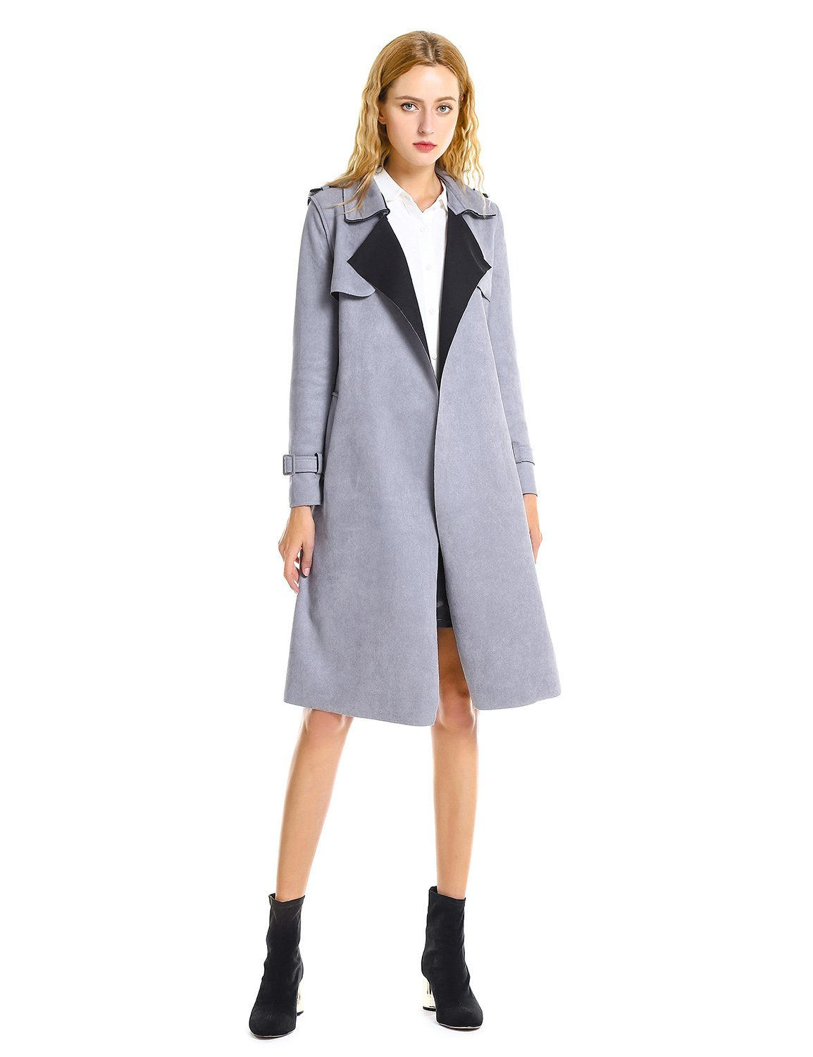 ZAN.STYLE Women Suede Coats Long Duster Jacket Trench Coat with Belt (XL, Grey)