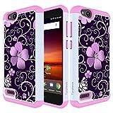 ZTE Blade Vantage Case/ZTE Tempo X Case/ZTE Avid 4 Case/ZTE Fanfare 3 Z852 Case,Turphevm Shock Absorbing Dual Layer Protective Fit Armor Phone Case Cover for ZTE Blade Vantage/N9137(Pink Violet)