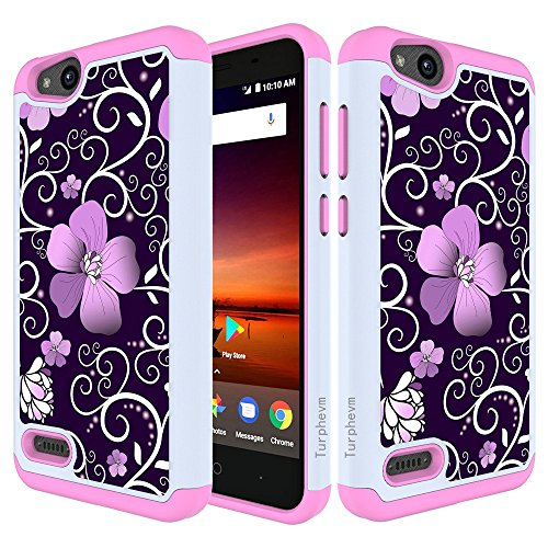 se/ZTE Tempo X Case/ZTE Avid 4 Case/ZTE Fanfare 3 Z852 Case,Turphevm Shock Absorbing Dual Layer Protective Fit Armor Phone Case Cover for ZTE Blade Vantage/N9137(Pink Violet) ()