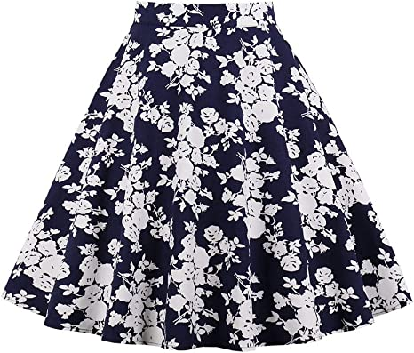 FSDFASS Faldas Tallas Grandes Falda con Estampado Floral de Las Mujeres Cintura Alta Algodón con Cremallera hasta la Rodilla Faldas Vintage Señoras Chicas Falda Informal Azul: Amazon.es: Deportes y aire libre