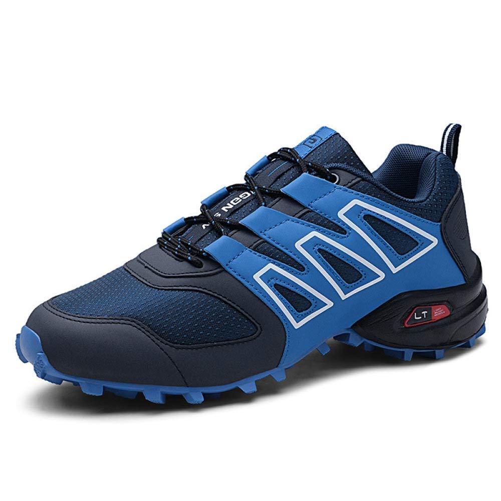 HhGold Wanderschuhe Männer Sommer Reise Outdoor Fliegende Woven Schuhe Große Größe 48 Sportschuhe Laufende Luftpolster Herrenschuhe (Farbe   Blau, Größe   41)