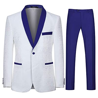 Boyland Men's White Tuxedo Suits Gorgeous Blue Shawl Lapel Silver Jacquard Slim Fit Party Prom Banquet Outfit at Amazon Men's Clothing store