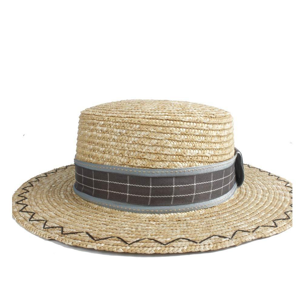 For women's hats Fresh Sun Hat Straw Fashion Hat Hat Plain Cloth Decorative Felt Pork Pie Hat Ladies Hat Sun Hat (Color : 1, Size : 56-58CM)