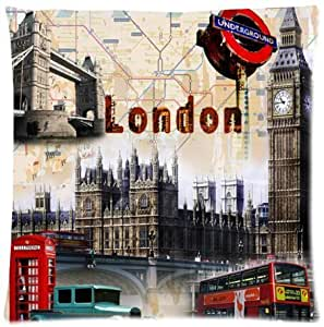 Vector Set of London Symbols Beautiful Design Cushion Case Throw Pillow Covers 18x18 inch (one side)