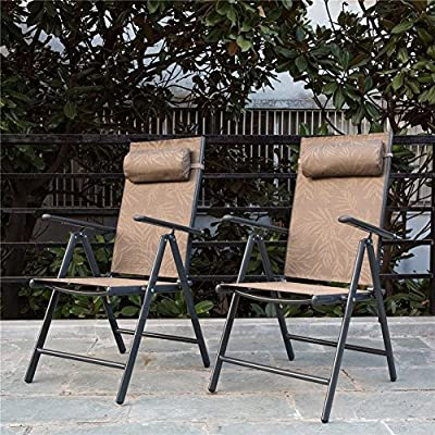PatioPost Folding Chairs Adjustable Outdoor Recliner Patio 2 Persons Textilene Poolside Garden Lounge Chairs, Yellow Jacquard - Aluminum frame with protective powder-coated finish. Lightweight, durable and rustproof structure. Each can hold up to (250) lbs weight capacity Easy clean, breathable textilene fabric seats bring you comfortable sit and padded head restraint adds extra relaxation Adjustable backrest is suitable for different ways of leisure - patio-furniture, patio-chairs, patio - 61zcuJBNdYL. SS400  -