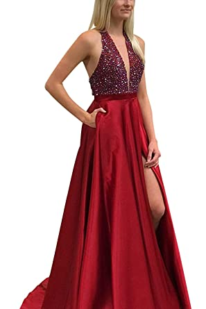 8554a2b18 Jazylynbride Long Satin Deep V-Neck Beading Crystal Prom Dress Slit Evening  Gown with Pockets at Amazon Women's Clothing store: