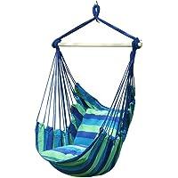 Hammock Hanging Rope Portable Hammock Chair Swing Seat Yard Patio w/Stick + 2 Pillow Blue&Green