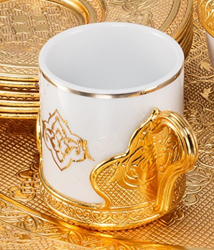21 Pieces Unique Stunning Espresso Turkish Greek Coffee Serving Set - Porcelain Cups with Tray and Sugar Bowl - Vintage Design Ottoman Arabic Gift Set, Gold by LaModaHome (Image #1)