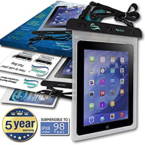Waterproof iPad Case - Incredibly Easy To Seal Securely - Compatible With All iPads & Tablet Models, Samsung, Sony, Nokia - All Tablets/Phones/Phablets/iPods/Cameras Up To 10.1